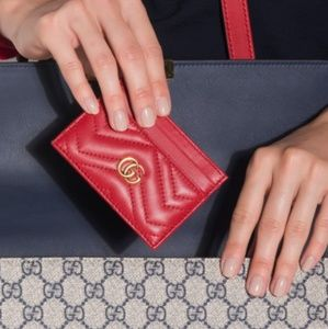 GUCCI MARMONT RED LEATHER CARD CASE MINI WALLET